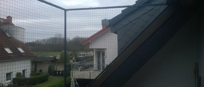 Katzennetz für Dachloggia, oben geschlossen