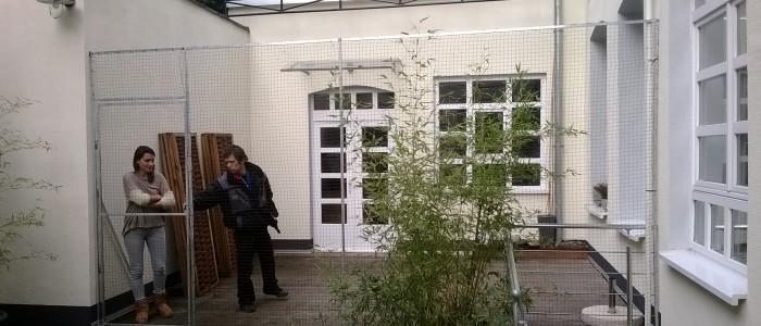 Terrasse inkl. Durchgangstür mit Katzennetz gesichert